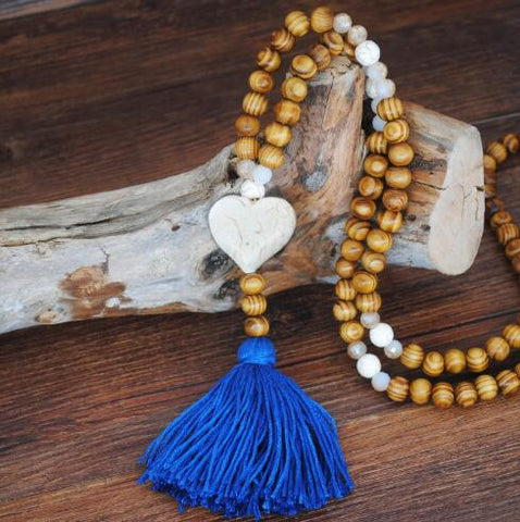 Bohemian Ethnic Vintage Boho Tassel sweater chain long necklace with wooden beads