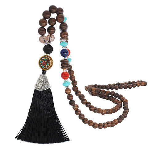 Bohemian Ethnic Vintage Boho Tassel Necklace Handmade Beaded Long Sweater