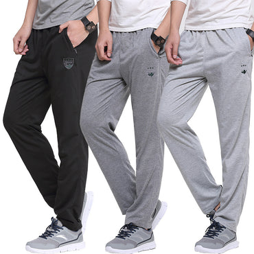 Breathable Sport Straight Pants Embroidery Slim Elastic Waist Pants