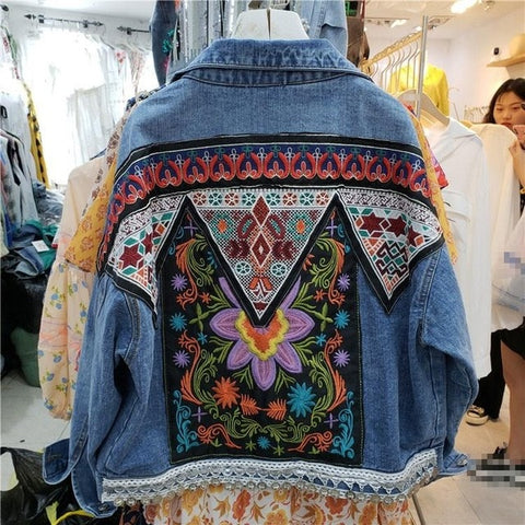 Boho Oversized Multi Floral Embroidered Denim Jacket Long Sleeve Casual
