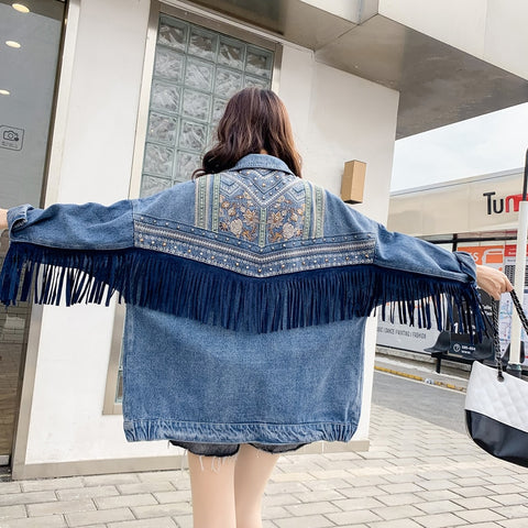 Denim Jacket Blue Loose Embroidery Rivet Tassel Pocket Oversize