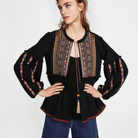 black Cotton ethnic geometric Embroidery loose puff long sleeve coats