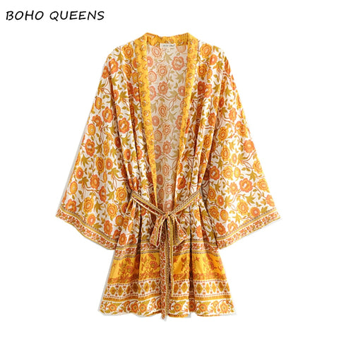 Vintage chic yellow floral print bat sleeve beach Bohemian kimono dresses