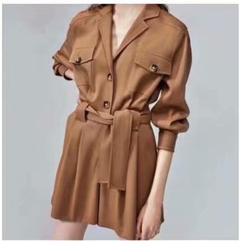 Vintage chic Boho Bodysuits solid color long sleeve pockets loose Rompers