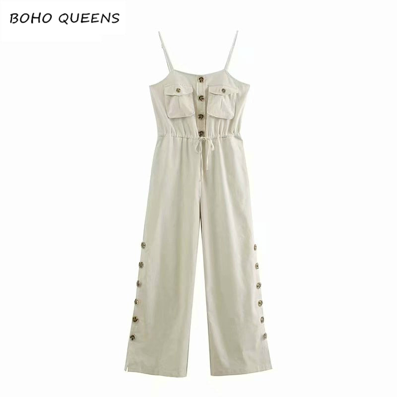 Vintage chic Happie Boho Bodysuits solid color sleeveless pockets Rompers