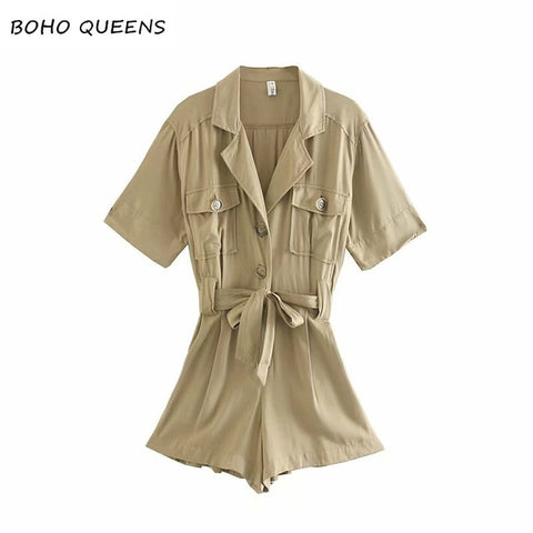 Vintage chic Happie Boho Bodysuits solid  short sleeve pockets loose Rompers