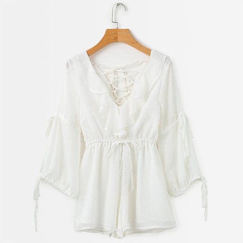 Long Sleeve V Neck Ruffle Bohemian Boho Playsuit Lace Up Romper