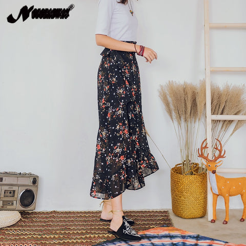 Floral Print Chiffon Maxi Skirt Beach Boho Bohemian Long Wrap Skirt
