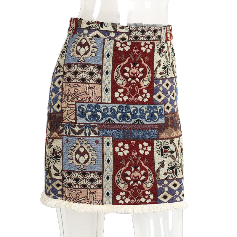 High waist geometric tassel Short boho bohemian style chic pencil skirt