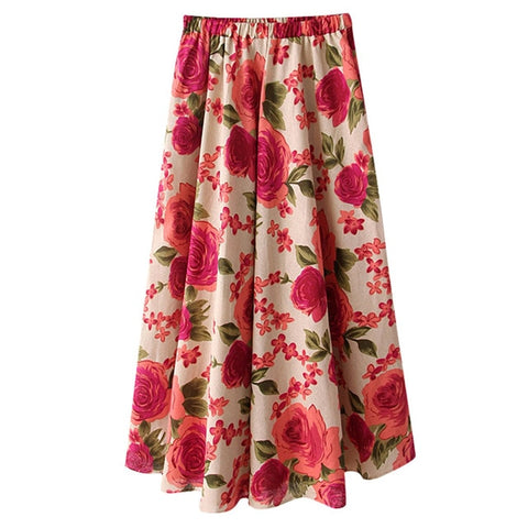 Boho High Waist Skirt Casual Beach Maxi Long Floral Skirt Style
