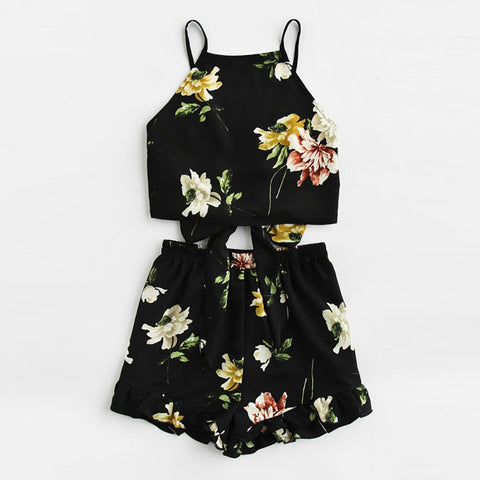Boho Ruffle Floral Print Spaghetti Strap Crop Cami Top With Shorts