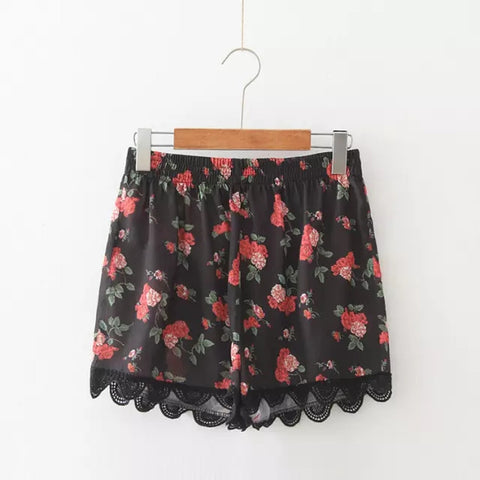 Floral Printing Elastic High Waist Lace Shorts Casual Boho Hotpants