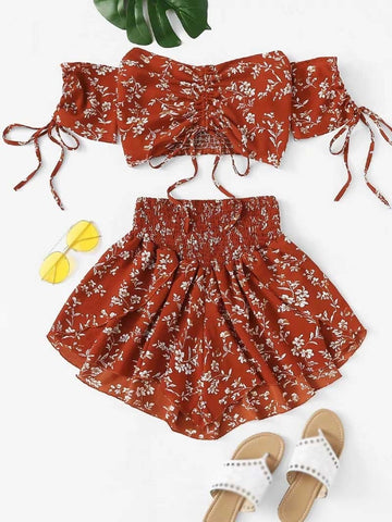 Cinched Floral Beach Set Off Shoulder Short Sleeves Crop Top