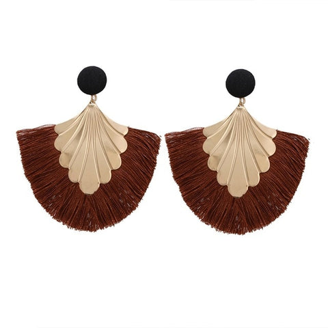 Big Statement Tassel Boho Style Fringed Charm Drop Earring