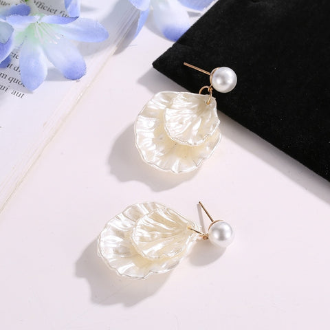 Bohemian Shell Pearl Earrings Double Shell Ear