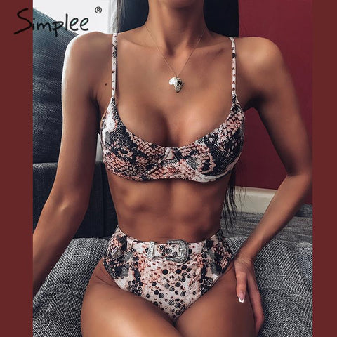 Simplee Sexy snake print bikinis High waist pool beach swimsuit