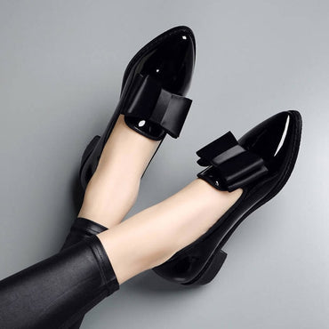Oxford Shoes Black Loafer Pointed Toe Slip on Flat Shoes