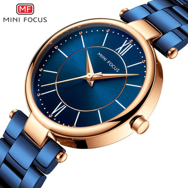 Waterproof Blue Stainless Steel Brand Luxury Fashion Ladies Quartz Watch