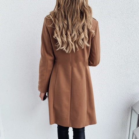 Solid Color Basic Essential Double-Breasted Mid-Long Wool Blend Pea Coat