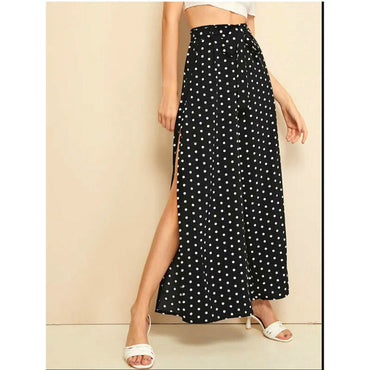 Boho Polka Dot Wide Leg Belted Loose Split Side Pants