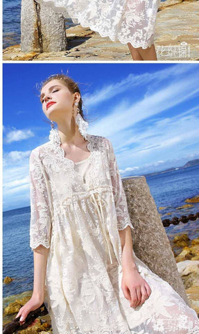 Embroidery Floral Bohemian Flower Embroidered Vintage White Mesh Dresses