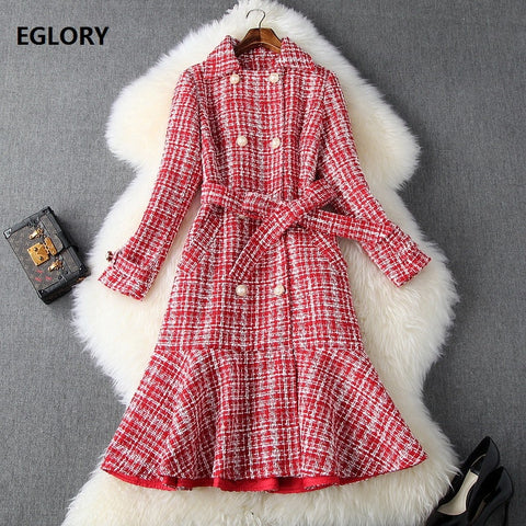 Wool Style Turn-down Collar Double Breasted Belt Long Sleeve Warm Dress