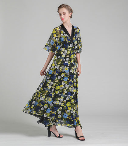 Print Maxi Long Sexy V Neck Flare Sleeve Loose Lace-up Vintage Floral Dresses