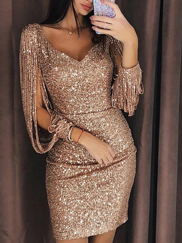 Tassels Gold Sliver Sequined Bandage Evening Party Dress
