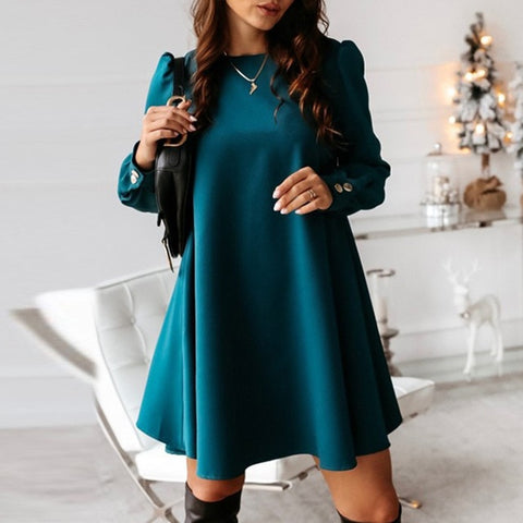 Casual Long Sleeve Single-breasted Party O-neck Metal Buttons Mini Dress
