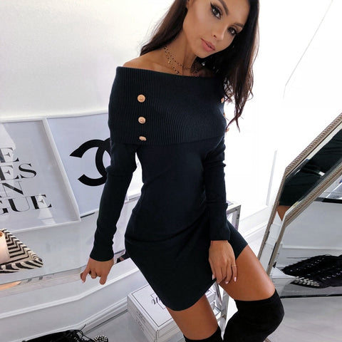 Off Shoulder Solid Long Sleeve Casual Ladies Bodycon Short Mini Dress