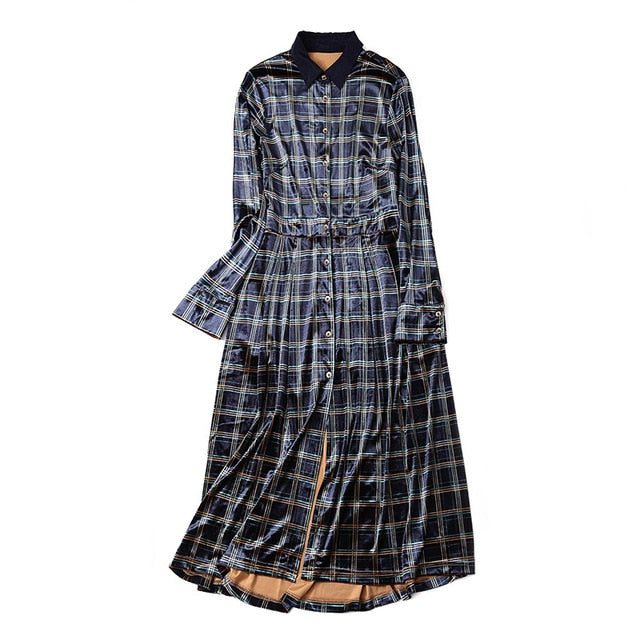 Velvet plaid turn down collar single breasted shirt dress