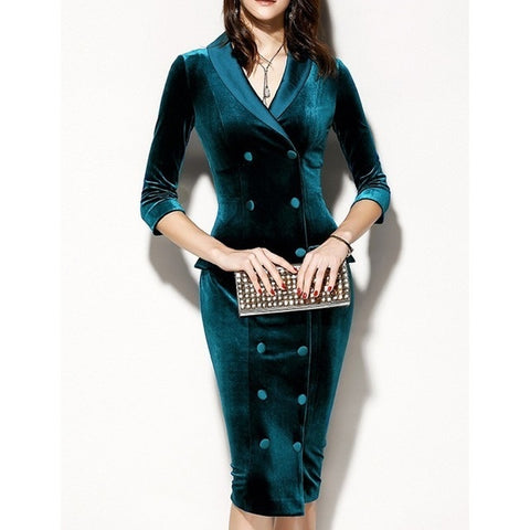 Office Double Breasted Green Blazer Plus Size Ladies Midi Dresses