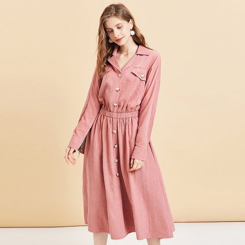 Elegant Single Breasted Elastic Waist Turn-down Collar Long Sleeve Dress