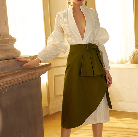 White Puff Sleeve Shirt V Neck Sexy Green Plus Size Midi Office Dress