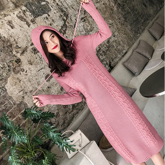 Fashion Knit Hooded Plus Size High Waist Sweaters Dresses