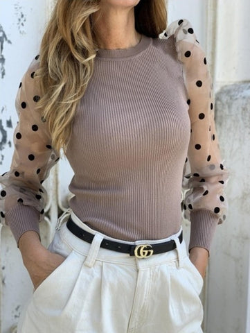 Long Sleeve Ribbed Knitted Shirt Loose Casual Polka Blouse Tops