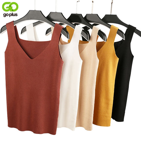 Sexy V Neck Knitted Crop Top Shirt Plus size Tank Top Underwear Top