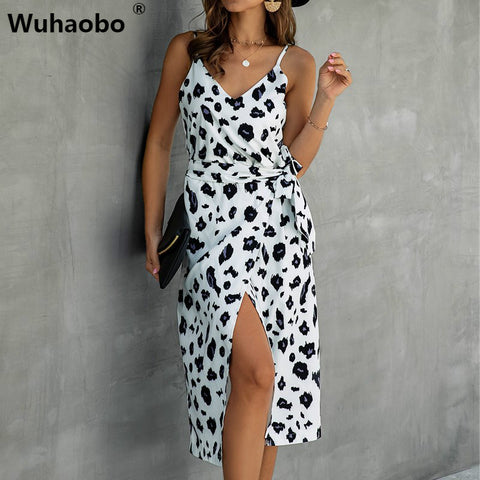 Retro Print Short Leopard V Neck Belt Lace Up Dress