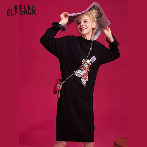 Pink Rat Printed Casual Oversized Black Contrast Lace Office Dresses
