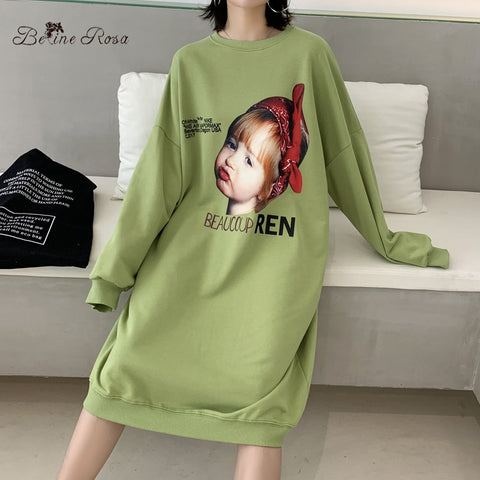 Casual Style Baby Pattern Print Loose Hoodies Baby Print Dress
