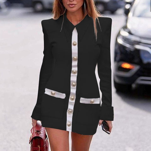 Elegant Pockets Patchwork Office Lady Long Sleeve Zipper Party Dress