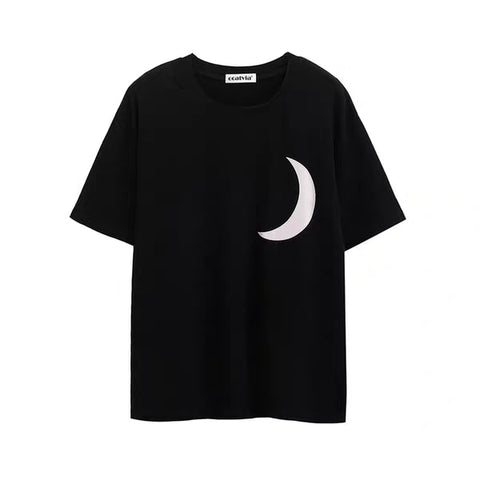 Reflective Moon Print Oversize short-sleeved shirts streetwear