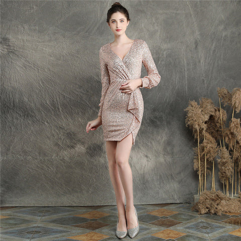 Sexy V-neck Prom Gown Vestidos Long Sleeve Prom Dress