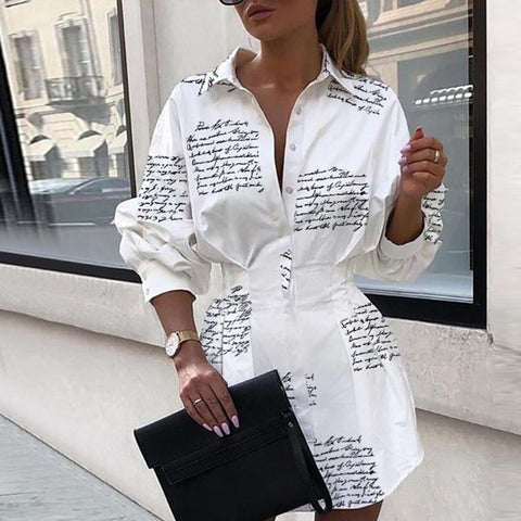 White Shirt Long Sleeve Tunic High Waist Slim Elegant Sexy Mini Dress