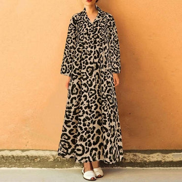 Vintage Stylish Leopard Printed Celmia Loose Casual Maxi Dresses
