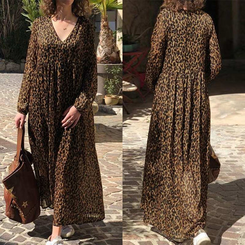 V Neck Sundress Sexy Leopard Beach Bohemian Print Dress