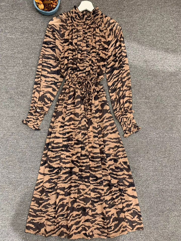 Vintage Leopard Print Runway Tand Collar Long Sleeve Dresses