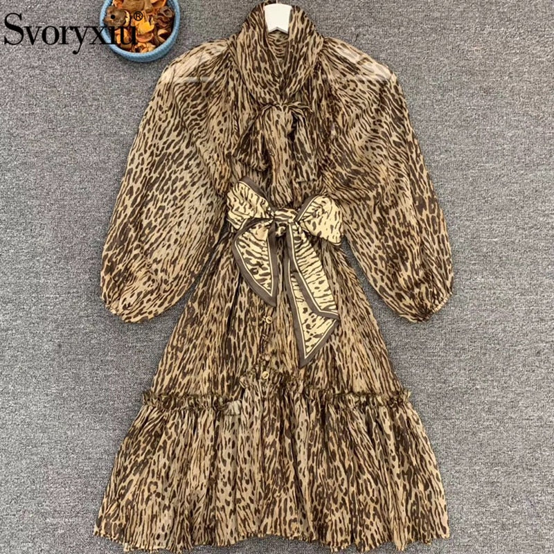 Vintage Leopard Printed Short Bow Collar Lantern Sexy Party Dresses