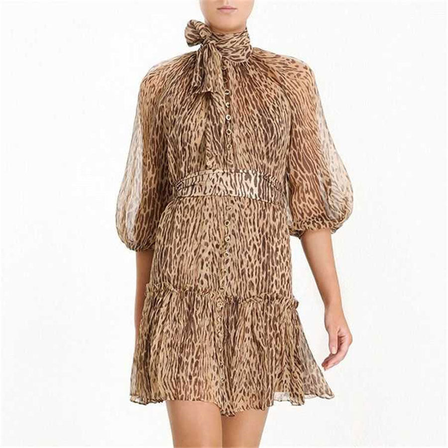 Three Quarter Sleeve Leopard Holiday and Vocation Dress