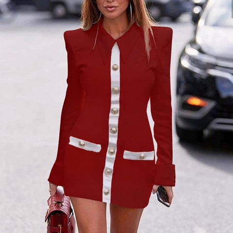 Sexy Single-Breasted Patchwork Blazer Elegant Zipper Slim Bodycon Office Dress